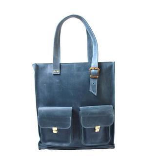 Женская кожаная сумка с ручками.  07012/голубой