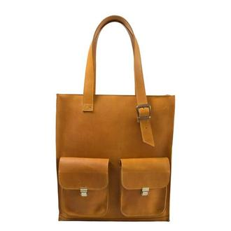 Женская кожаная сумка с ручками.  07012/желтый