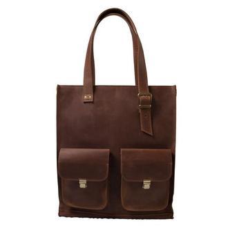 Женская кожаная сумка с ручками.  07012/коньяк