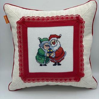 Декоративная подушка Дед Мороз и Снегурочка 35х35 см