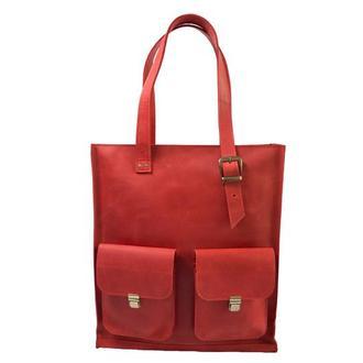 Женская кожаная сумка с ручками. 07012/красный