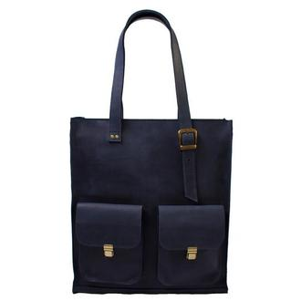 Женская кожаная сумка с ручками.  07012/синий