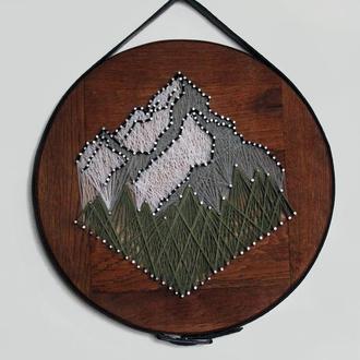 Деревянное панно стринг арт горы