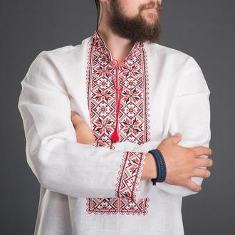 """Вышиванка мужская """"Зiрка"""" красная 00505"""