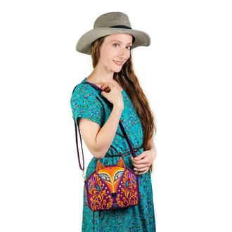 Оригинальная дизайнерская сумочка с вышивкой Лиса. Фиолетовая сумка текстильная