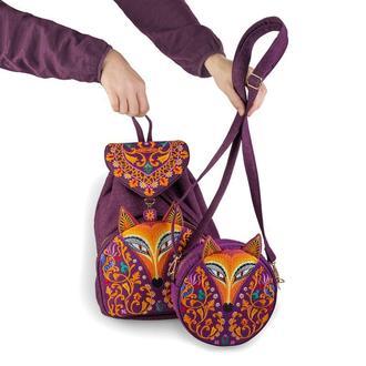 Фиолетовый комплект вышитый рюкзак и круглая сумочка