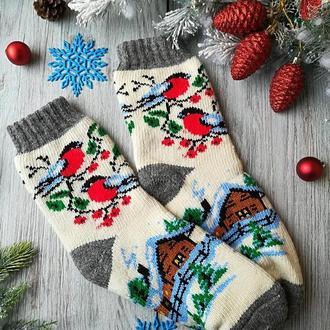 Шкарпетки жіночі зимові вовняні в'язані новорічні на новий рік Будиночок на білому, р. 37-40