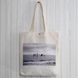 Эко-сумка с фото принтом Море, арт шоппер с карманом, эко-торба, сумка для покупок, авоська