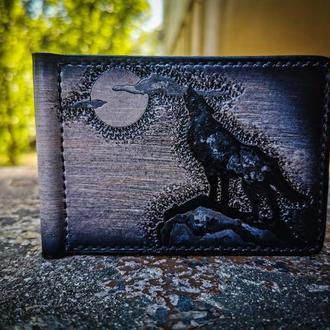 Кожаный зажим для купюр с волком, зажим с рисунком волка воющего на луну, зажим для денег