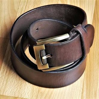 Широкий кожаный ремень коричневый