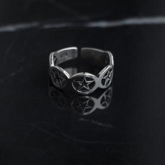 Серебряное кольцо на фалангу с пентаграммами родирование миди
