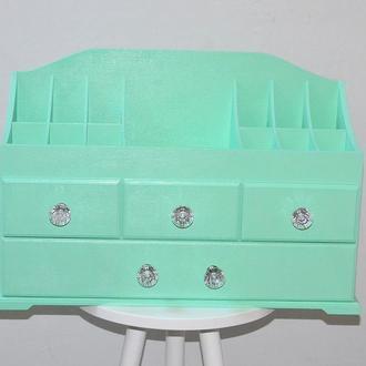 Комод для косметики на 4 ящика цвет мяный. Органайзер для косметики. Комодик для косметики.