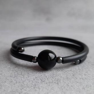 Черный браслет минимализм с бусиной агата. Стильный женский браслет. Подарок.