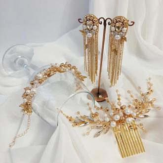 Подарок девушке, набор украшений из натурального перламутра и цирконов, украшение в прическу, серьги