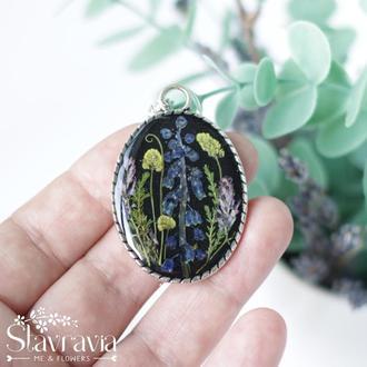 Подвеска фэнтези эльфийская поляна с лесными цветами • Черний кулон с лесными цветами для девушки
