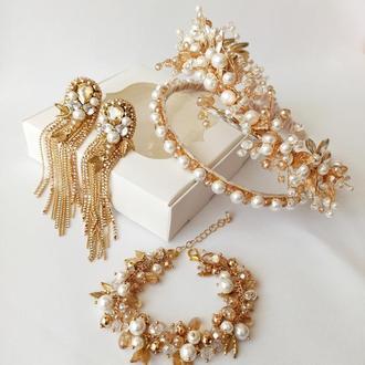 Подарок, набор украшений из натурального перламутра и цирконов, обруч, серьги и браслет