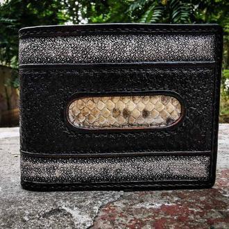 Кожаный строгий кожаный кошелек, черно белый кожаный кошелек, кошелек со вставкой из кожи питона