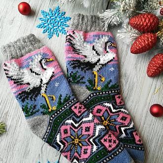 Носки женские шерстяные зимние вязаные новогодние на новый год Аист на розовом, р. 38-40