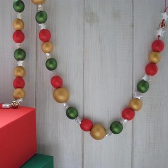 Новогодняя гирлянда из деревянных бусин / Гирлянда для дома / Гирлянда на ёлку