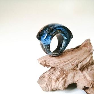 Кольцо женское (размер 17,0-17,5), голубое кольцо - подарок девушке, деревянное кольцо ручной работы