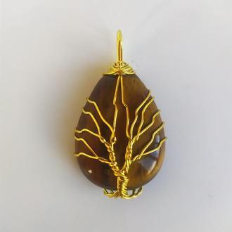 """Кулон """"Дерево жизни"""" натуральный камень тигровый глаз"""