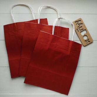 Красный крафт пакет 240мм/200мм/80мм