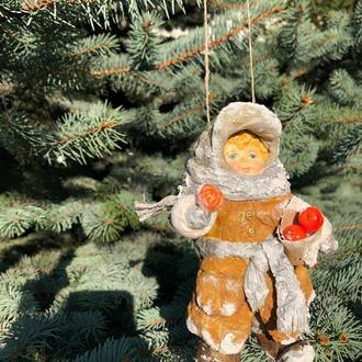 Ватная игрушка «Лёнька с мандаринами»