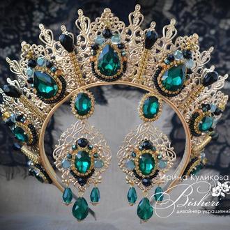 Изумрудная корона и серьги