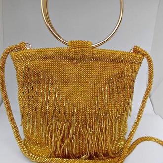 Сумочка из бисера, золотая сумка, вечерняя сумочка