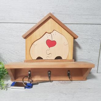 Дерев'яна ключниця Котики Будиночок Декор Екодизайн
