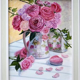 Натюрморт с букетом роз, цветы картина маслом оргалит цветочная живопись подарок