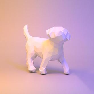 Наборы для создания 3д фигур Оригами Паперкрафт Бумажная модель Papercraft Щенок