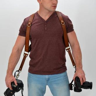 Разгрузочные ремни для фотографа ( коньячного цвета)