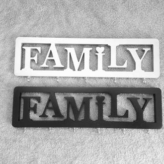 Деревянная ключница. Family ключница. Ключница для ключей. Слово под заказ (имя, логотип и тд)