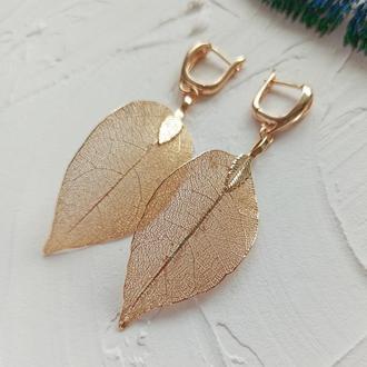 Серьги листья