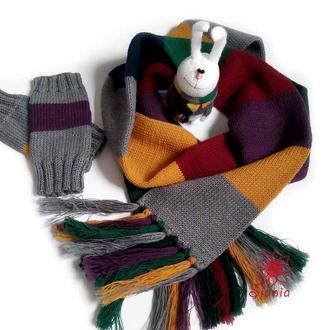 "комплект  ""весело-смугастий"" : шалик, рукавички + зайчик"