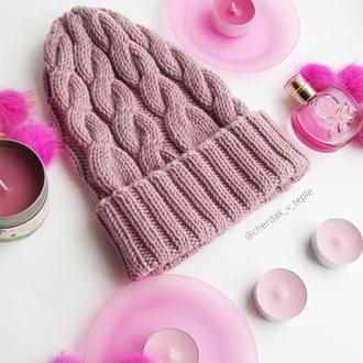 Шерстяная шапка пыльная роза