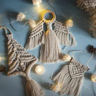 Макраме игрушки новогодние, ангел, елка, панно на корице, снежинка, венок новогодний