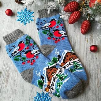 Шкарпетки жіночі вовняні зимові в'язані новорічні на новий рік Будиночок на блакитному, р. 37-39