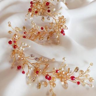 Весільне прикраси, гілочка в зачіску нареченої золотого кольору, ювелірний дротик
