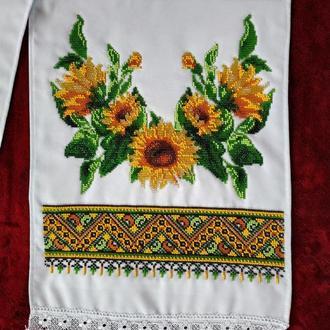 Рушник вишитий бісером для ікон, на весілля, весільний рушник