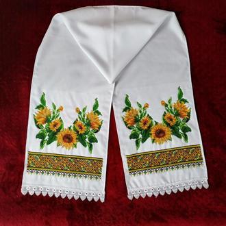 Рушник вышит бисером для икон, на свадьбу, свадебный рушник