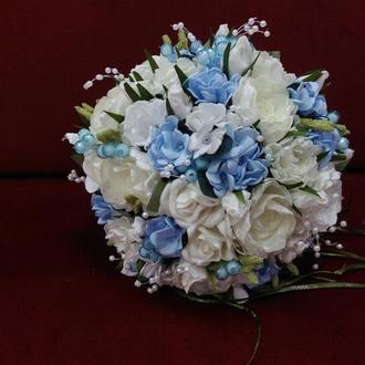 Свадебный букет-дублер молочный с голубым