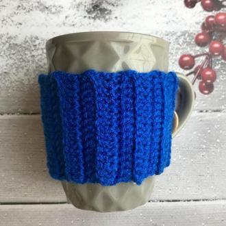 Грелка на чашку синяя, подарок коллегам на Новый год, вязаный чехол на чашку