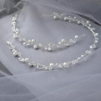 Свадебное украшение для волос, веточка в прическу, украшение в прическу невесте, свадебные украшения