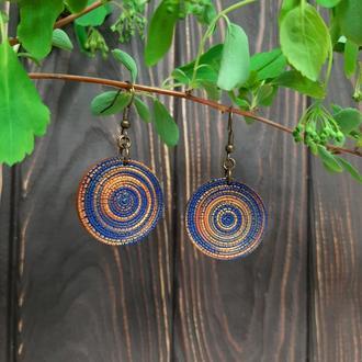 Крупные круглые серьги Медно-синие из полимерной глины