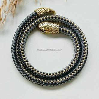 Колье-жгут из японского бисера′Змейка′серый