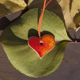 Кулон Сердце Красное 0004, подвеска, украшение.
