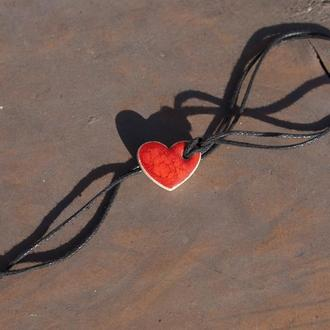 Кулон Сердце красное 0005