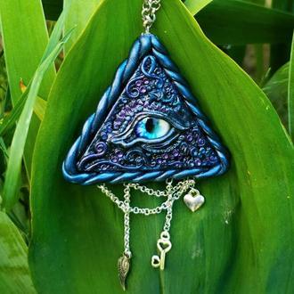 Кулон драконье око глаз лучезарная дельта подарок для ведьмы полимерная глина
